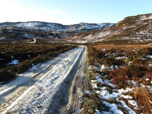 The extremely icy hill road